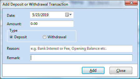 Add deposit or withdrawal