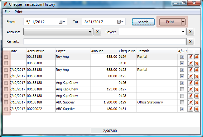 Search, edit and print cheque transaction history