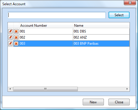 Select Account Window